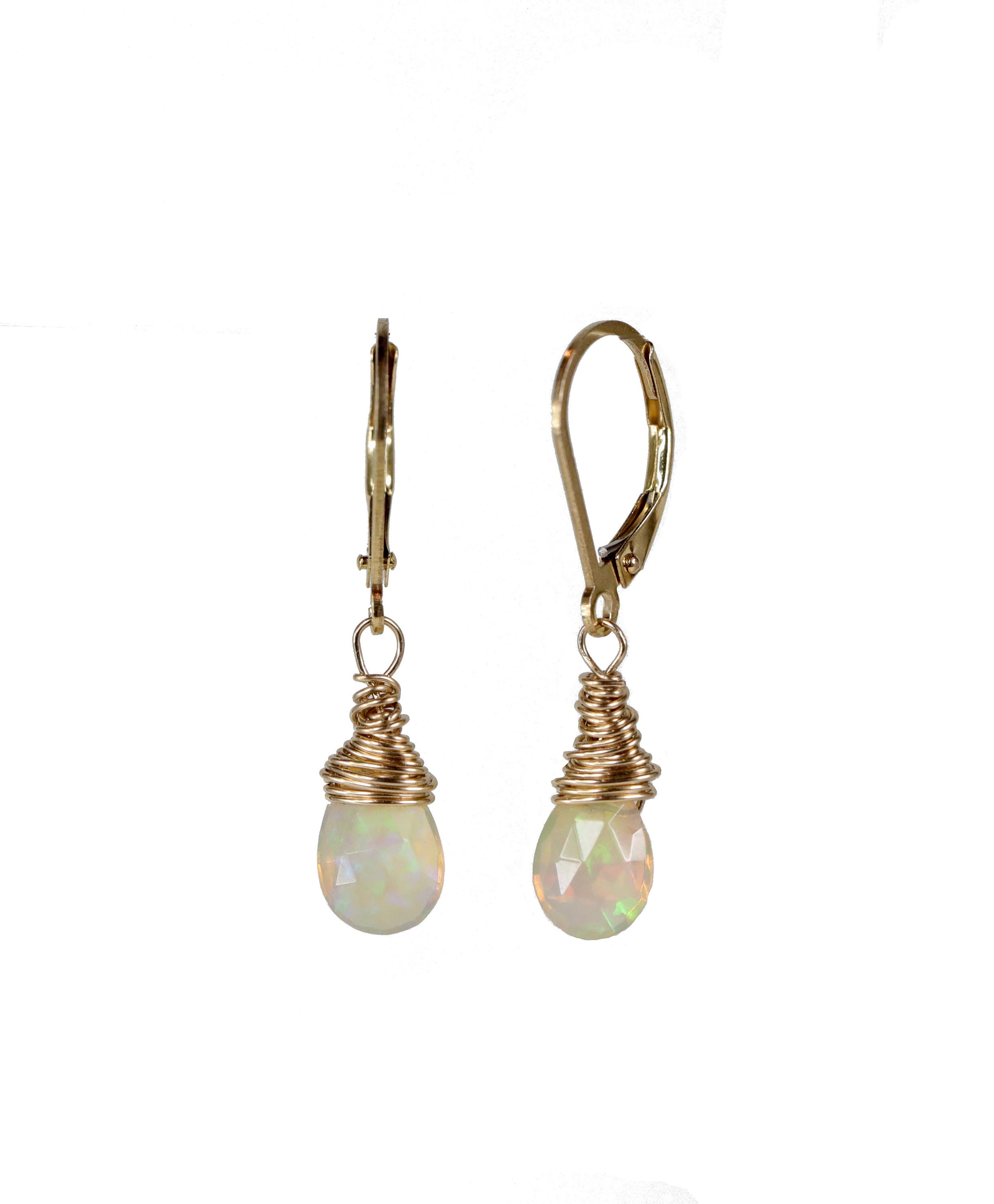 Opal Earring Faceted White Drop October Birthstone Birthday Gift For Her Ethiopian 14k Gold Filled