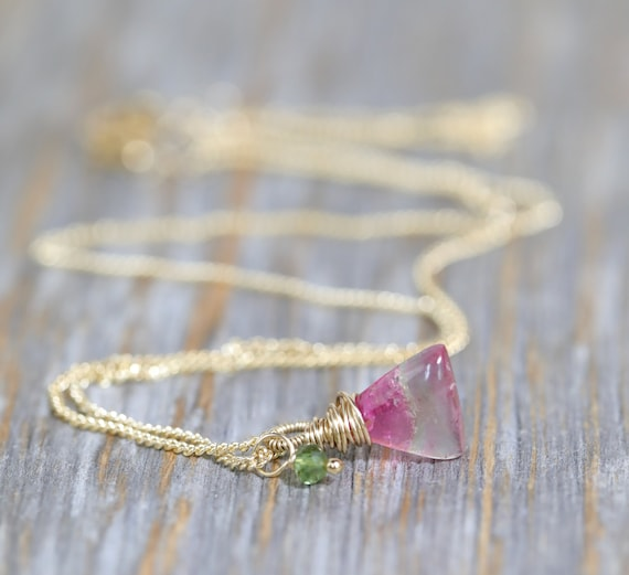 Watermelon Tourmaline Pendant Necklace*tourmaline gemstone triangle shape *14k gold filled*October birthstone birthday Gift idea for her