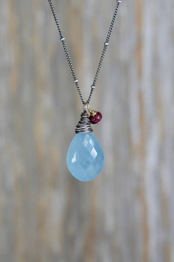 Large Aquamarine Sterling Silver Pendant Necklace * March birthday gift for her* Genuine Aquamarine and Ruby Statement Necklace