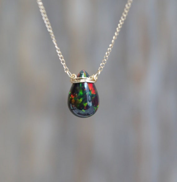 Black Opal Necklace* Large Black opal gemstone Teardrop pendant* solid 14k gold* October birthstone* Ethiopian opal* 6 carat opal