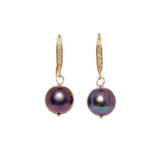 Large Black Pearl Earrings- Genuine Round Black Pearl Diamond Drop Earrings- 1.25 Inch Length- Women's Jewelry Gift Idea-14k gold Vermeil CZ