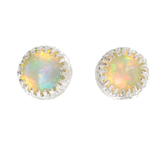 Opal Stud Earring 6mm opal stud Sterling Silver Bezel set October birthstone October birthday gift for her Ethiopian Welo opal stud earring