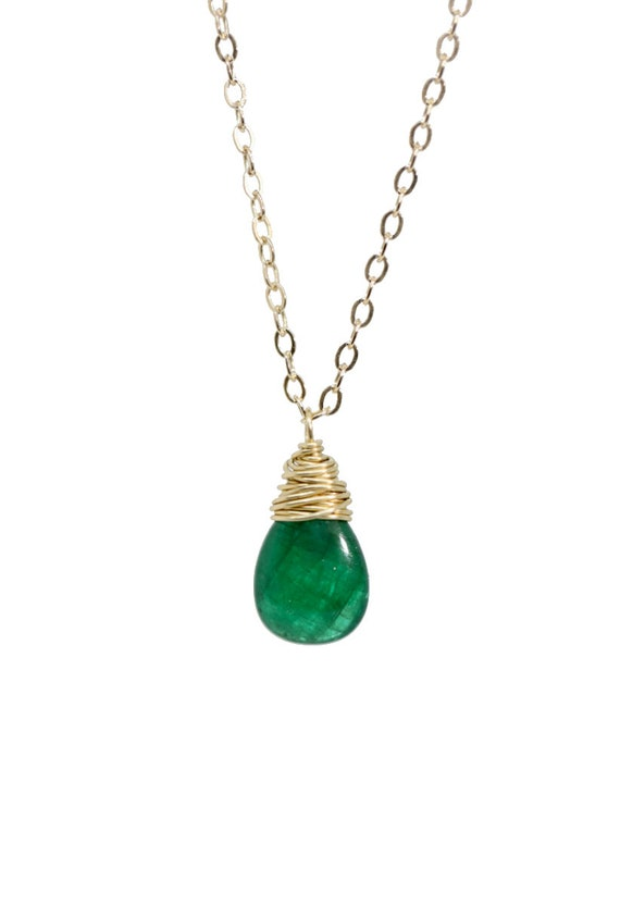 Natural Zambian Emerald Teardrop Necklace