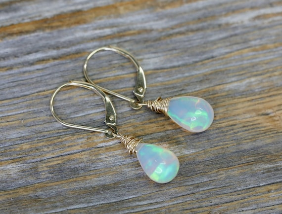 Fine Opal Teardrop Earrings- Solid 14k Gold- Natural Ethiopian Opal Gemstone- October Birthday Birthstone Women's Fine Jewelry Gift
