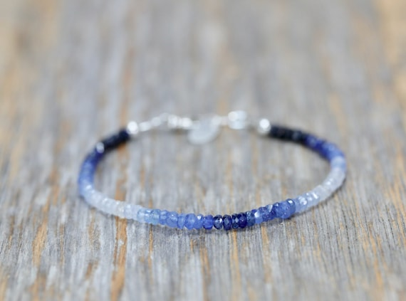 Blue Sapphire Bracelet Ombre Blue Sapphire Bracelet simple modern elegant sterling silver bracelet September birthstone gift for her