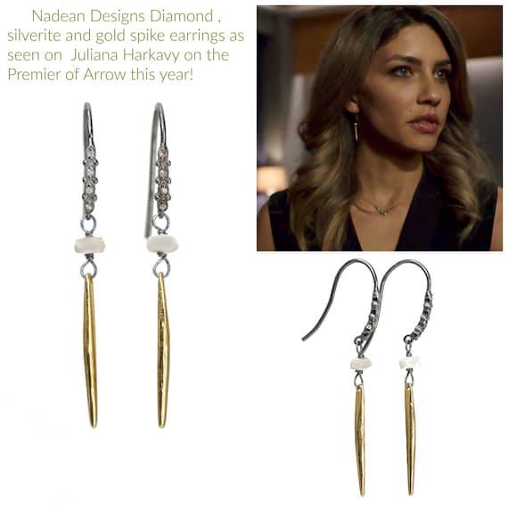 Mixed Metal Diamond Spike Earrings