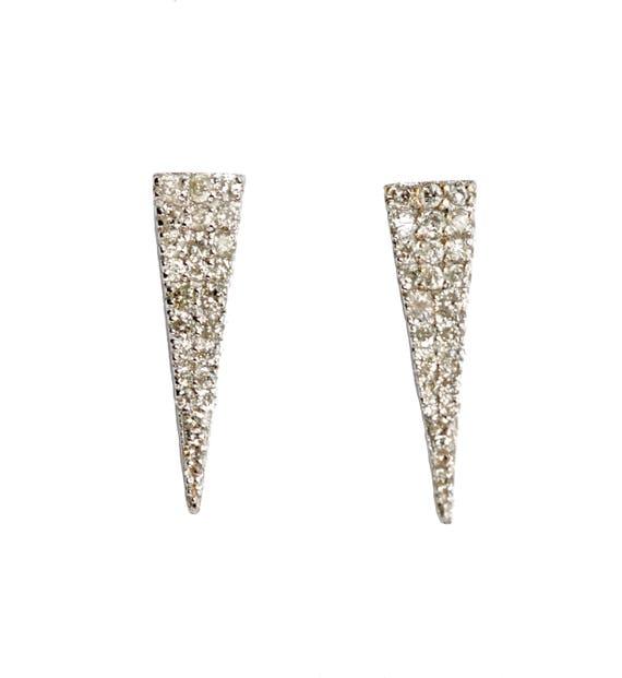 14K White Gold Diamond Triangle Stud Earrings