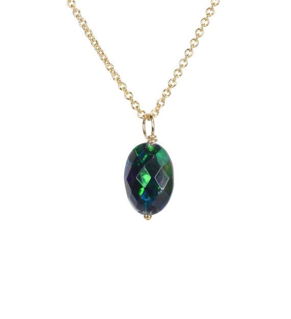 Black Ethiopian Opal Faceted Pendant Necklace October birthstone October birthday gift for her 14k gold filled