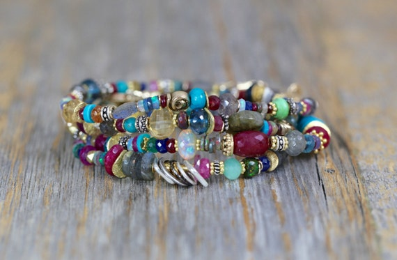 Multi Gemstone Opal Gold Bracelet