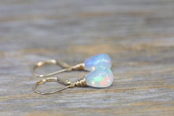 Fine Opal Teardrop Earrings- Solid 14k Gold- Natural Ethiopian Opal Gemstone- Mother's Day Women's Fine Jewelry Gift