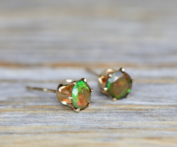 Black opal stud earring*14k gold filled prong stud*Ethiopian Welo Opal* 5mm Gift for Her*October birthstone* fire orange opal gemstone