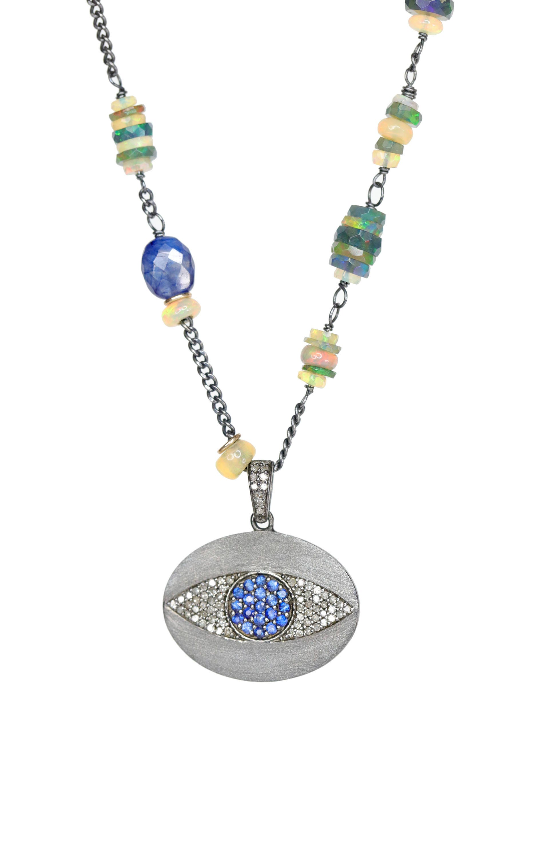 Evil Eye Pendant Necklace Blue Sapphire blue opal Pave Diamond Black Opal  jewelry sterling silver gift for her beaded womens gift 4b49495a34