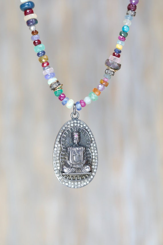 Diamond Buddha Pendant Necklace Multi Gemstone Precious Stones emerald ruby opal sapphire