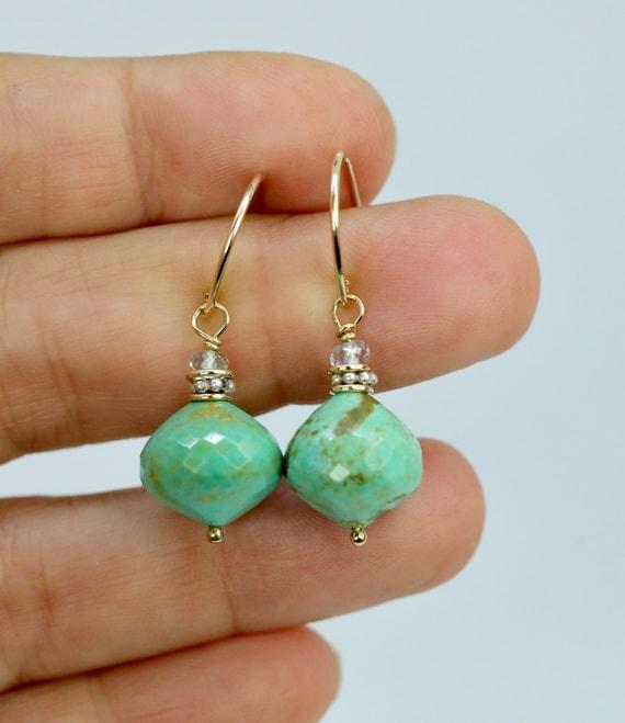 Kingman Turquoise Drop Earring * Genuine Arizona Turquoise Earring * Aquamarine *Women's Jewelry Mother's Day Gift Idea*December Birthstone