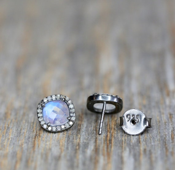 Moonstone Stud Earrings * Rainbow Moonstone Pave diamond* Gift For Her *cushion cut diamond earring* Elegant diamond statement earring- 10mm