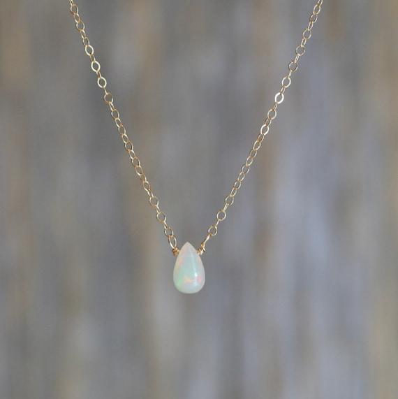 Genuine Ethiopian Opal Teardrop Necklace natural Welo White Opal October birthstone October birthday gift for her 14k gold filled