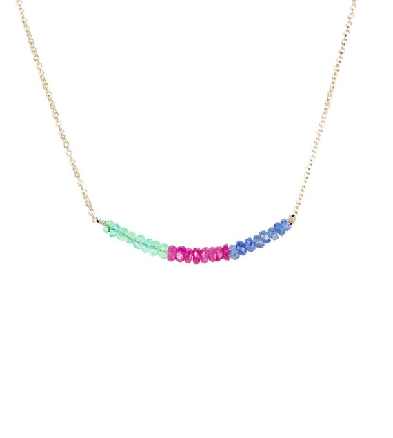 Multi Gemstone Bar Necklace