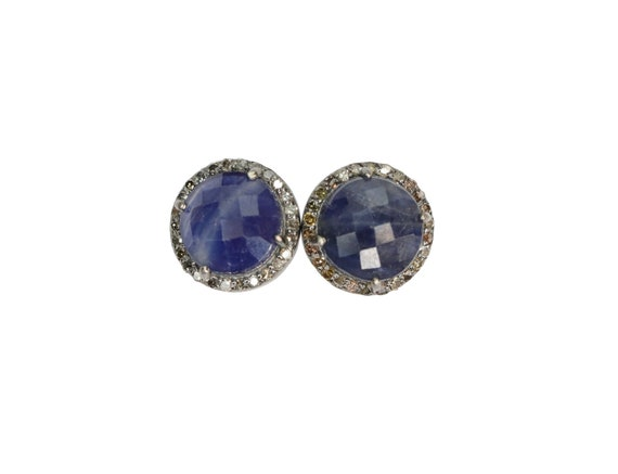 Blue Sapphire Diamond Stud Earring 12MM Round diamond halo September birthstone gift for her statement sterling silver earring