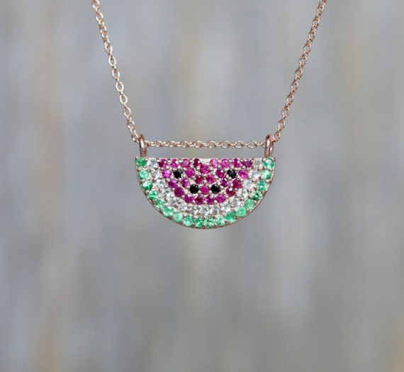 Watermelon Pendant Necklace Watermelon charm Pave watermelon tourmaline slice necklace fine jewelry gift for her rose gold fruit