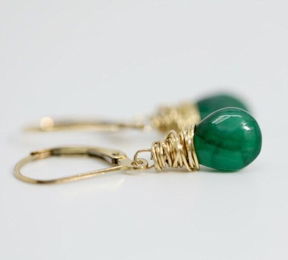 Genuine Zambian Emerald Pear-Shaped Drop Earrings- 14k Gold Filled- May Birthstone Birthday Women's Jewelry Gift Idea for Her
