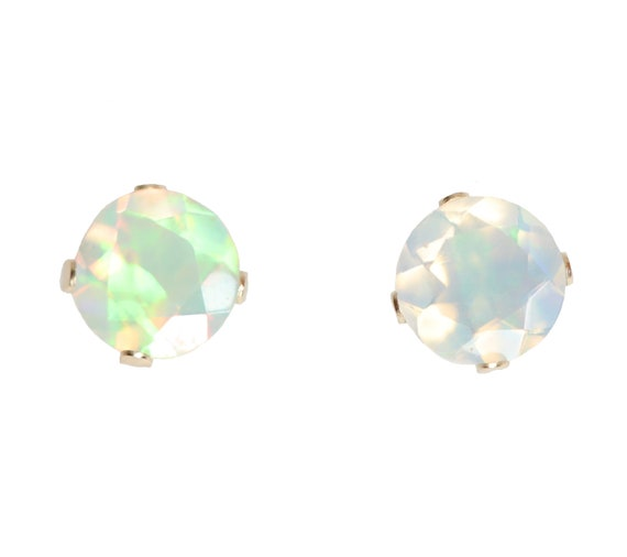 14k Gold Natural White Opal Stud Earring- 5mm- solid 14k yellow gold- Ethiopian Welo Opal- Faceted Opal Gemstone Stud Earrings