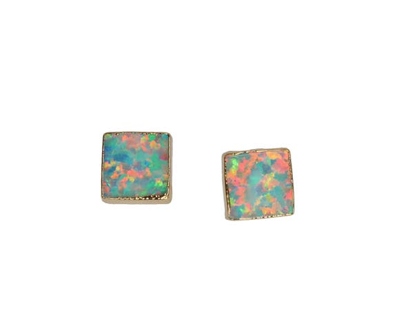 Green Aqua Blue Square Opal Stud Earring Gold - 6mm October birthstone October birthday Gift For Her synthetic opal fire opal earring