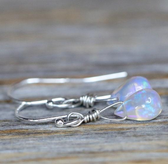 Opal Teardrop Earrings- .925 Sterling Silver- Genuine Ethiopian Opal Gemstones- Women's Jewelry Holiday Gift Idea- Stocking Stuffer