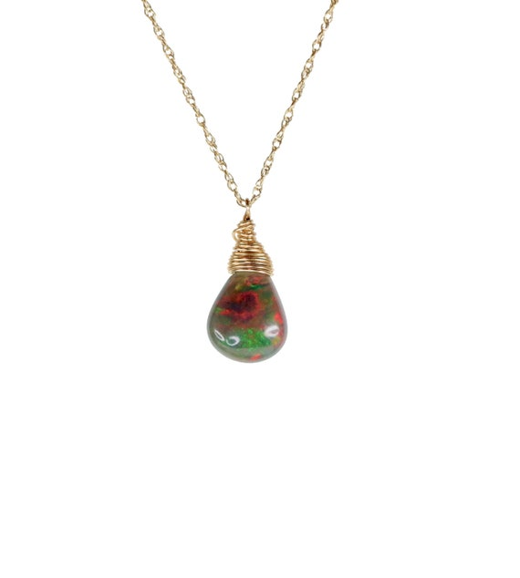 Small Black Opal teardrop Necklace* Black opal gemstone pendant* solid 14k gold* October birthstone* Ethiopian opal*