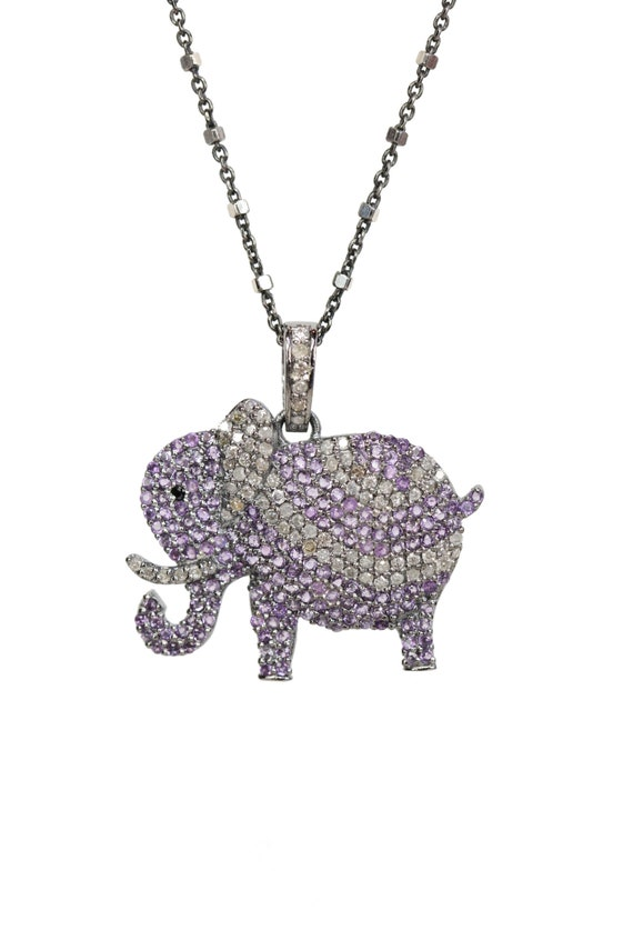 Pave Amethyst Elephant Pendant Necklace- oxidized sterling silver- pave diamond - Holiday Gift for Her -