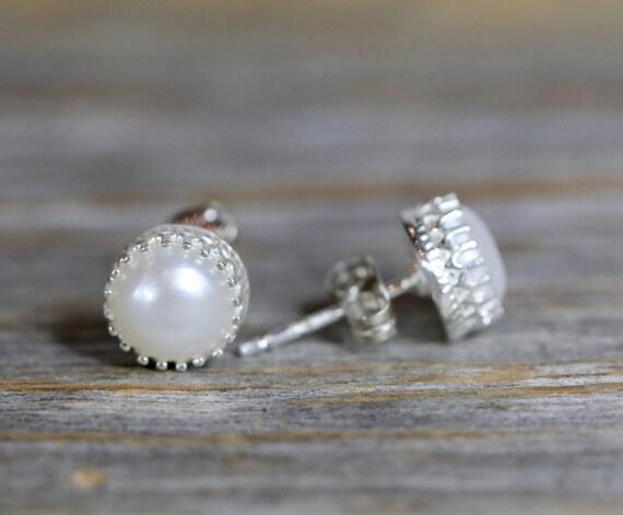 Genuine White Pearl Stud Earring Sterling Silver June Birthstone Pearl Earring Pearl Stud Gift for Her 8mm white pearl elegant stud earring