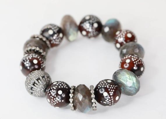 large labradorite and kuka prayer bead bracelet with exquisite pave diamond focal silver gift for her anniversary gift gift for mom