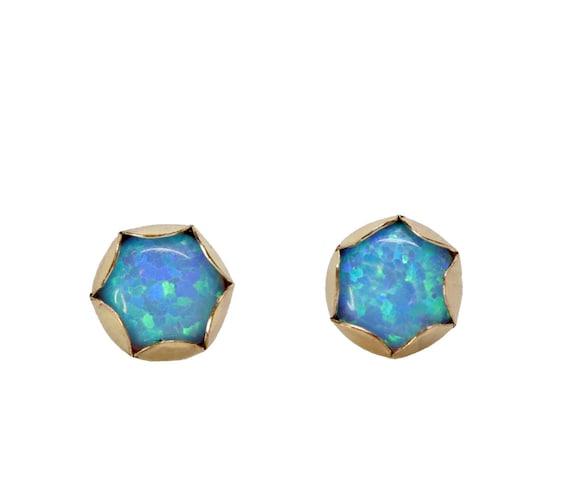 Azure Blue Opal Gemstone Stud Earrings