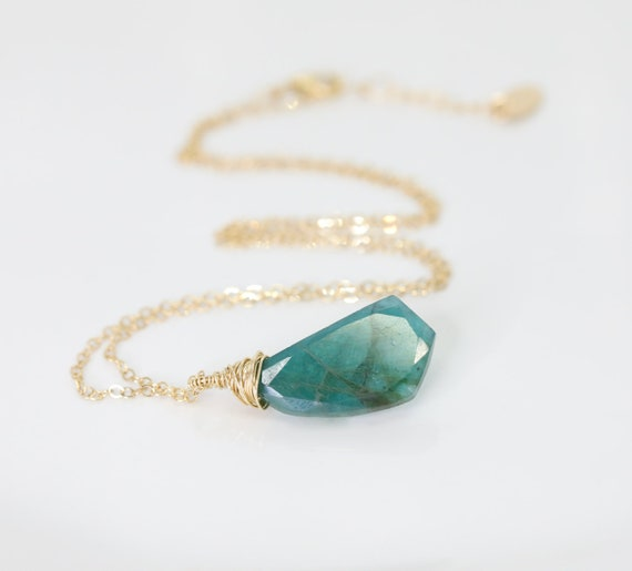 Blue Green Grandidierite Gemstone Pendant Necklace- 14k gold filled - Extremely RARE- Unique-Women's Jewelry gift Idea