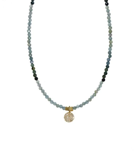 Blue Paraiba Tourmaline and Diamond Necklace