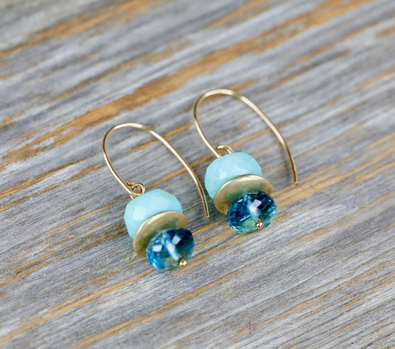 Genuine Puruvian Opal Earrings-London Blue Topaz Earrings-Boho Chic Opal Earrings-December Birthstone Gift- Dangle Opal Earring