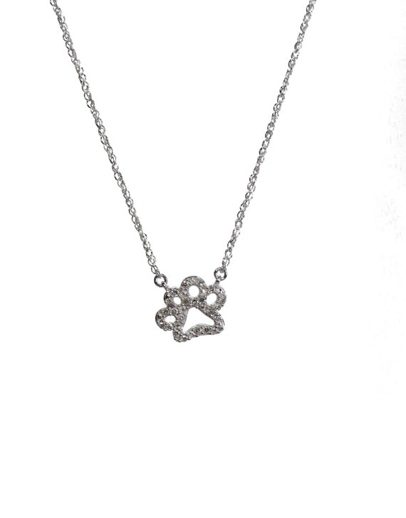 Pave Diamond Dog Paw Print Pendant Necklace * 14k White gold* white diamonds * dog lover animal lover gift for her* Tiny Dainty dog paw
