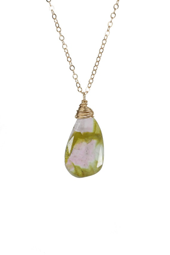 Watermelon Tourmaline Pendant Necklace * Faceted green and light pink tourmaline free form pendant* 14k gold filled * October birthstone