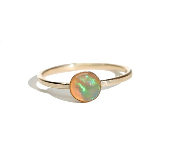 Semi-Black Ethiopian Opal Gemstone Ring 14k gold filled October birthday October birthstone gift for her 6mm gemstone size 7 ring solitaire