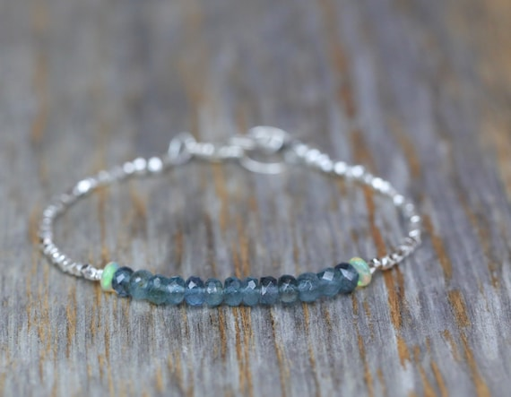 Aquamarine Gemstone Stacking Bracelet* Opal gemstone Accent* Hill Tribe Fine Sterling Silver