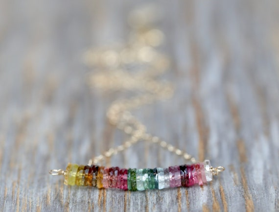 Tourmaline Bar Necklace- Rainbow Gemstone Bridge Necklace- October Birthstone Birthday Gift for Her - Women's- 14k gold filled