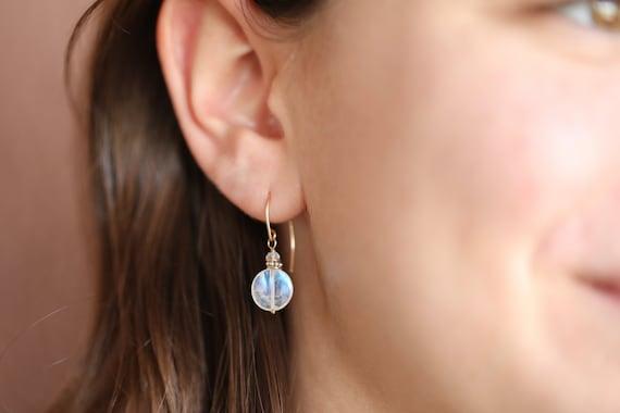 Rainbow Moonstone Coin Earrings