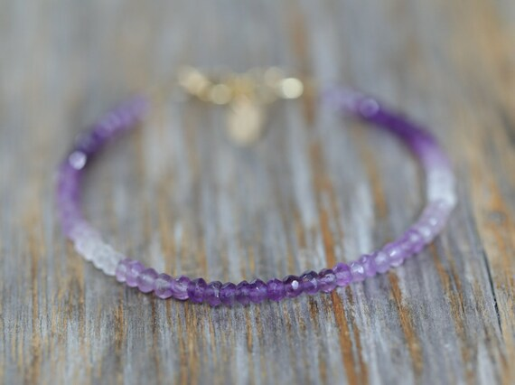 Amethyst Bracelet Ombre Amethyst Gemstone Shaded Purple Stone February Birthstone gift idea for her Valentine's Day