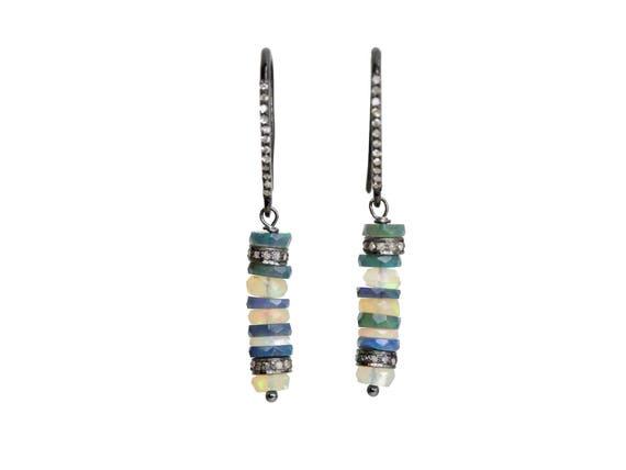 Dangle Opal Earring-Sterling Silver Opal Earring-Black Opal Earring-White Opal Earring-Pave Diamond Oxidized- October Birthstone Gift