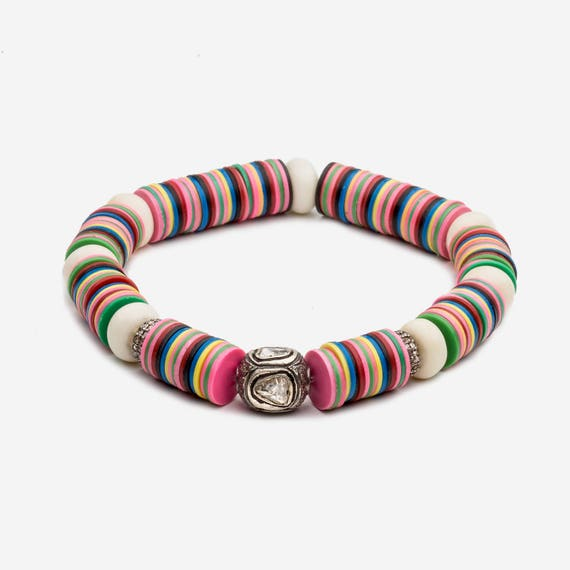 Boho-Luxe Summer Colorful Bracelet with A Diamond Focal