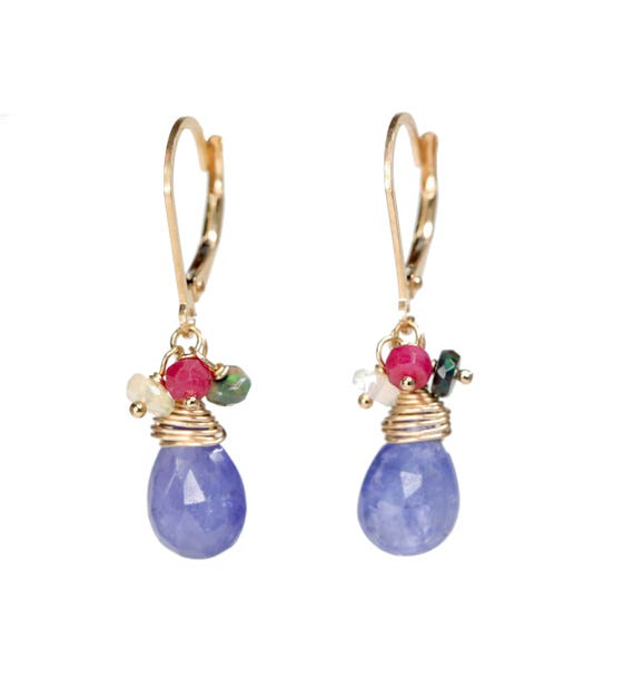Tanzanite Gemstone Earring Ruby Ethiopian Black Opal Earring *Gift for her* Mother's Day* Women's Jewelry* Graduation* Wedding* Birthday
