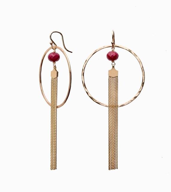 Gold Tassel Ruby Hoop Earrings
