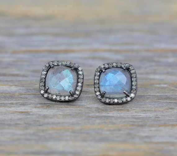 Labradorite Cushion Cut Diamond Halo Stud Earring* Sterling silver* oxidized *Gift for her *Labradorite statement earring * green gemstone