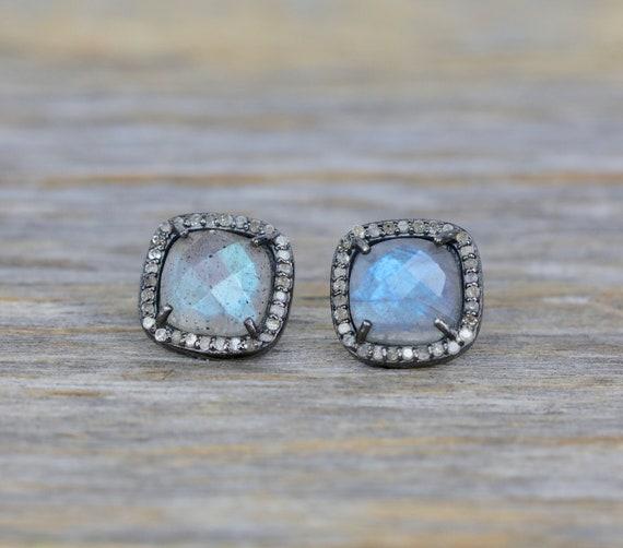 Labradorite Cushion Cut Diamond Halo Stud Earring* Oxidized Sterling Silver*Labradorite Statement Earring * Mother's Day Gift