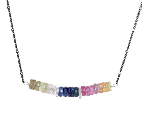 Multi Sapphire Bar Necklace