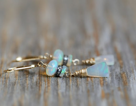 Natural Opal Gemstone Drop Earring* Gem Quality Ethiopian Opals* Pave Diamond Mixed Metal Triangle Shape -Gift Idea for Her Women's- Unique